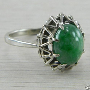 14k White Gold Jade Jadeite Antique Estate Vintage Cabochon Cut Ring Retro