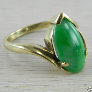 10k Yellow Gold Jade Jadeite Antique Estate Vintage Ring