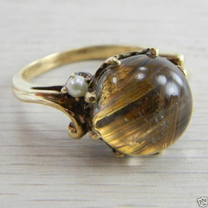 10k Gold Rutilated Quartz with Seed Pearls Antique Vintage Ring