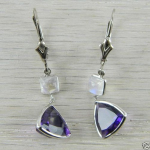 14k White Gold Purple Amethyst and Moonstone Retro Lever Back Earrings