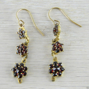 14K Gold Wire Victorian Bohemian Garnet 3 Flower  Vermeil Dangle Earrings