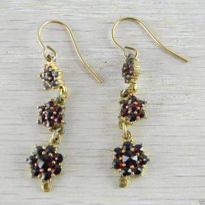 14K Gold Wire Victorian Bohemian Garnet 3 Flower  Vermeil Dangle Earrings