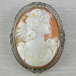 14k White Gold Victorian Antique Vintage Cameo Shell Pendant Pin Brooch