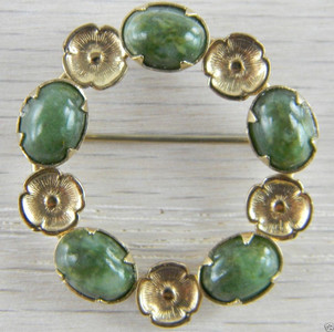 12k Gold Filled Green Nephrite Jade Circle Wreath Flower Vintage Pin