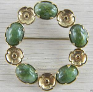 12k Gold Filled Green Nephrite Jade Circle Wreath Flower Vintage Pin
