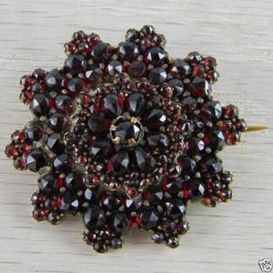 Vermeil Snowflake Snow Flake Star Victorian Bohemian Garnet Pin Brooch