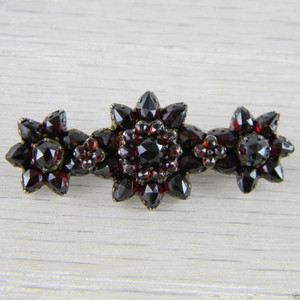 Gold over Silver Victorian Bohemian Garnet Vermeil 3 Flower Pin Brooch