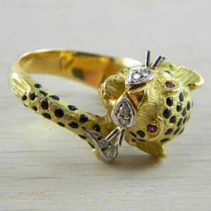 18K Yellow Gold Ruby and Diamond Leopard Style Ring