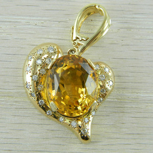 14K Yellow Gold Citrine and Diamond Heart Shaped Modern Era Pendant