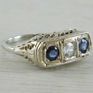 14K White Gold Blue Sapphire and Diamond 3 stone Art Deco Filigree Ring