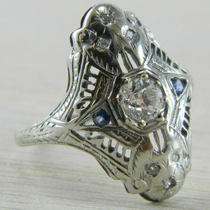 14K White Gold Sapphire & Diamond Art Deco Filigree Ring