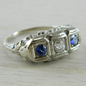 14K White Gold Ceylon Sapphire and Diamond Art Deco Filigree Ring