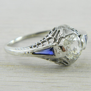 14K White Gold Rose Cut Diamond Filigree Art Deco Synthetic Sapphire Ring