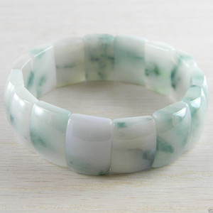 Hand Carved Stretch Icy Jade Jadeite Asian Chinese Bangle Bracelet