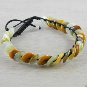 Shamballa Disc Butterscotch Jade Jadeite Asian Chinese Bangle Bracelet