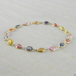 14K Yellow Gold Mixed Sapphire Multi Color Gemstones By the Yard Bracelet