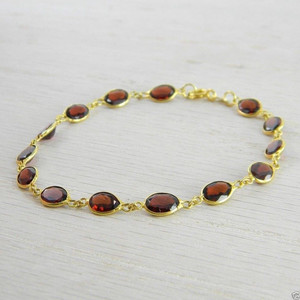 14K Yellow Gold Red Garnet Gemstones By the Yard Bracelet New Jewelry