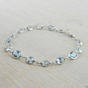 14K White Gold Aquamarine Gemstones By the Yard Bracelet