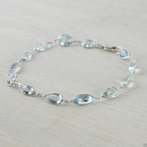 14K White Gold Gemstones By the Yard Aquamarine Bracelet