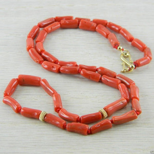 Gold Filled Italian Red Coral Necklace Vintage Antique Jewelry