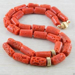 14K Gold Filled Italian Red Coral Vintage Antique Necklace
