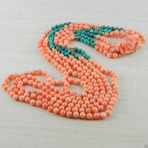 14k Italian Coral & Turquoise Necklace Vintage Antique Jewelry