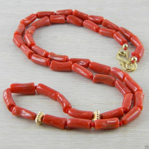 14K Gold Filled Italian Red Coral Beaded Bead Vintage Antique Necklace