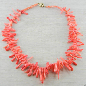 14K Gold Filled Red Italian Vintage Estate Coral Bead Necklace
