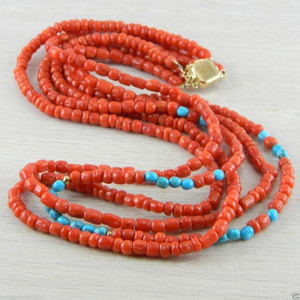 14K Italian Turquoise & Coral Necklace Vintage Antique Jewelry