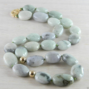 14K Gold Filled Gray Green Jade Jadeite Bead Necklace