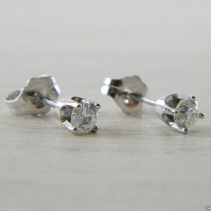Diamond Butterfly Back 0.30 tcw White Gold RBC Eye Clean Stud Earrings