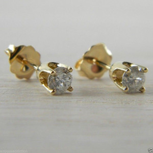Diamond Butterfly Back 0.50 tcw 14K Yellow Gold RBC Eye Clean Stud Earrings