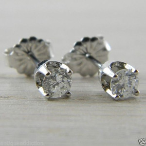 Diamond Butterfly Back 0.38 tcw White Gold RBC Eye Clean Stud Earrings