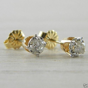 Diamond Butterfly Back 0.36 tcw Yellow Gold RBC Illusion Stud Earrings