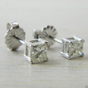 Diamond Butterfly Back 0.50 tcw White Gold Princess Cut Stud Earrings