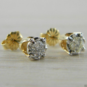 Diamond Butterfly Back 0.52 tcw Yellow Gold Illusion Head Stud Earrings