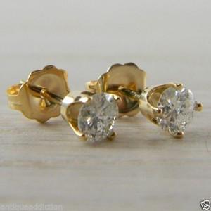 Diamond Butterfly Back 0.62 tcw Yellow Gold RBC Eye Clean Stud Earrings