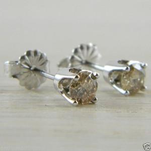 Diamond Butterfly Back 0.60 tcw White Gold RBC Eye Clean Stud Earrings