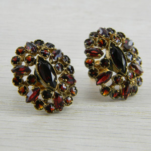 Gold over Silver Victorian 10K Gold Bohemian Rose Cut Garnet Earrings