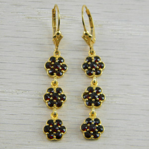 14K Gold Vermeil Bohemian Rose Cut Garnet  Victorian Lever back Earrings