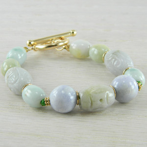 14K Gold Filled Green Gray Jade Jadeite Engraved Bead Bracelet