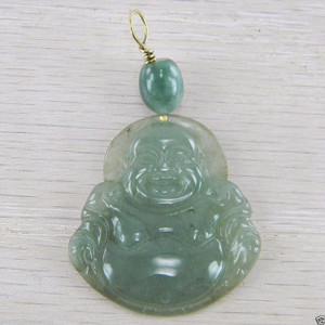 18K Gold Wire Green Jadeite Jade Hand Carved Laughing Buddha Pendant