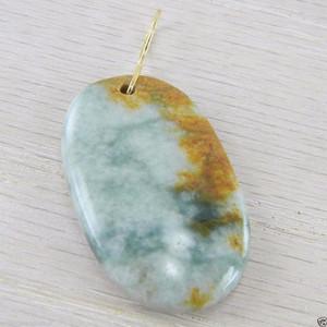 18K Gold Wire Green Brown Jadeite Jade Oval Shaped Estate Vintage Pendant