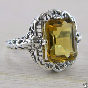 .925 Sterling Silver Vintage 2.65 carats Citrine Filigree Art Deco Ring
