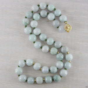 14K Gold Filled Jadeite Jade Vintage Hand Carved Cabbage Bead Necklace