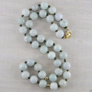 14K Gold Filled Green Jadeite Jade Cabbage Carved Vintage Bead Necklace