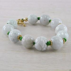 Vermeil Grey Green Hand Carved Jadeite Jade Vintage Bead Bracelet