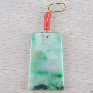 18K Gold Wire Red Coral Green Jadeite Jade Rectangle Vintage Pendant