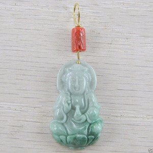 18K Yellow Gold Red Coral Green Jadeite Jade Kwan Yin Carved Pendant