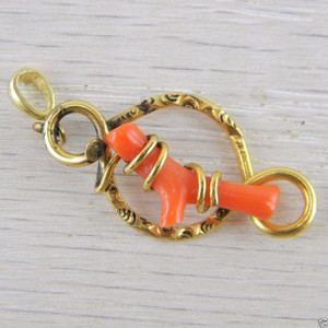 14K Yellow Gold Bail Red Coral Victorian Antique Vintage Pendant